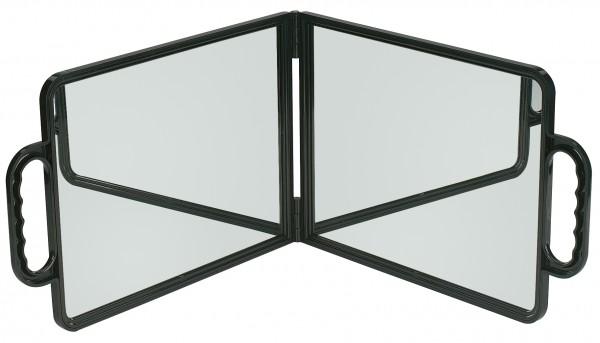Mobiler Friseur Spiegel, Doppelspiegel in Schwarz